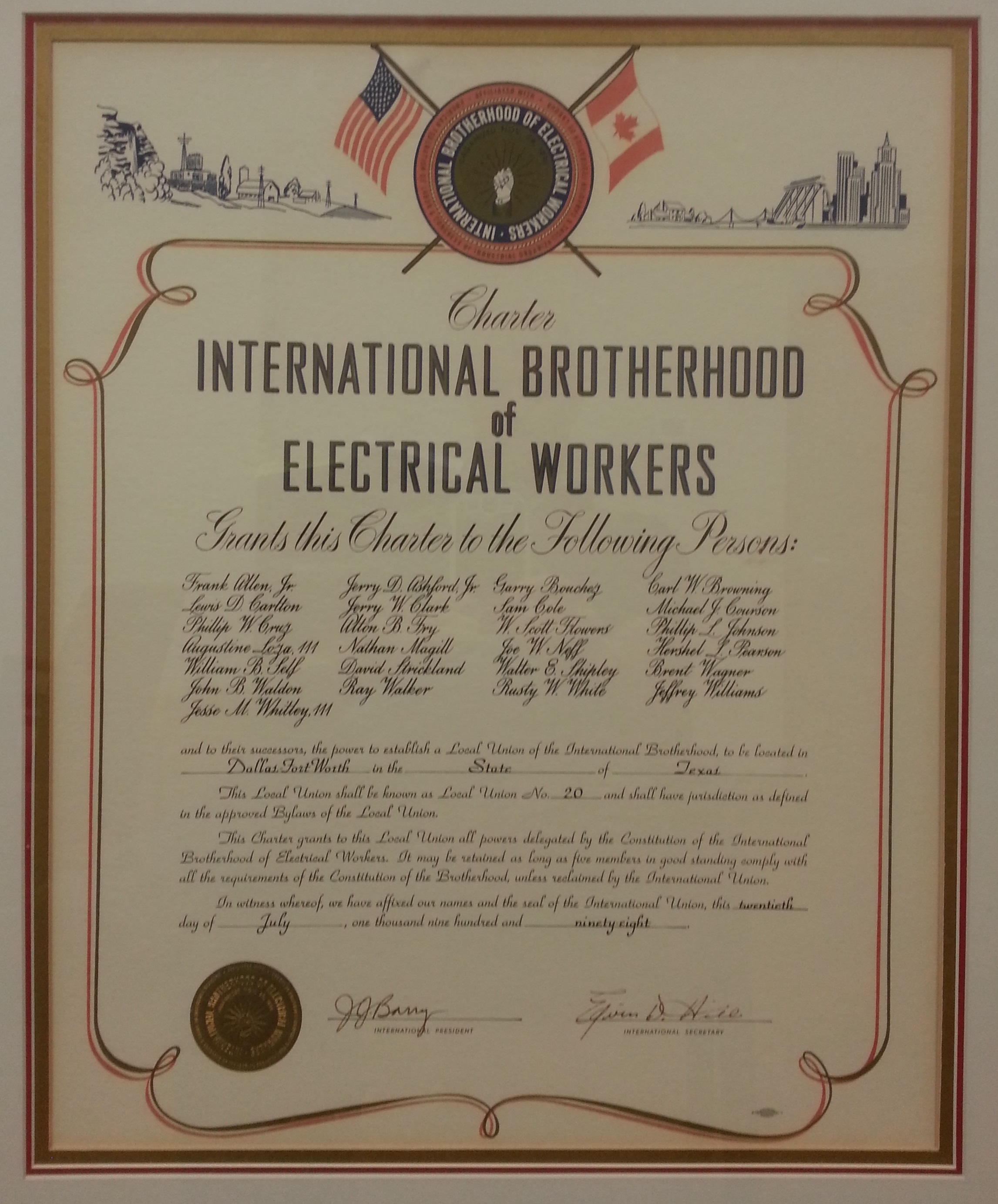 Picture of the original Charter of IBEW Local 20